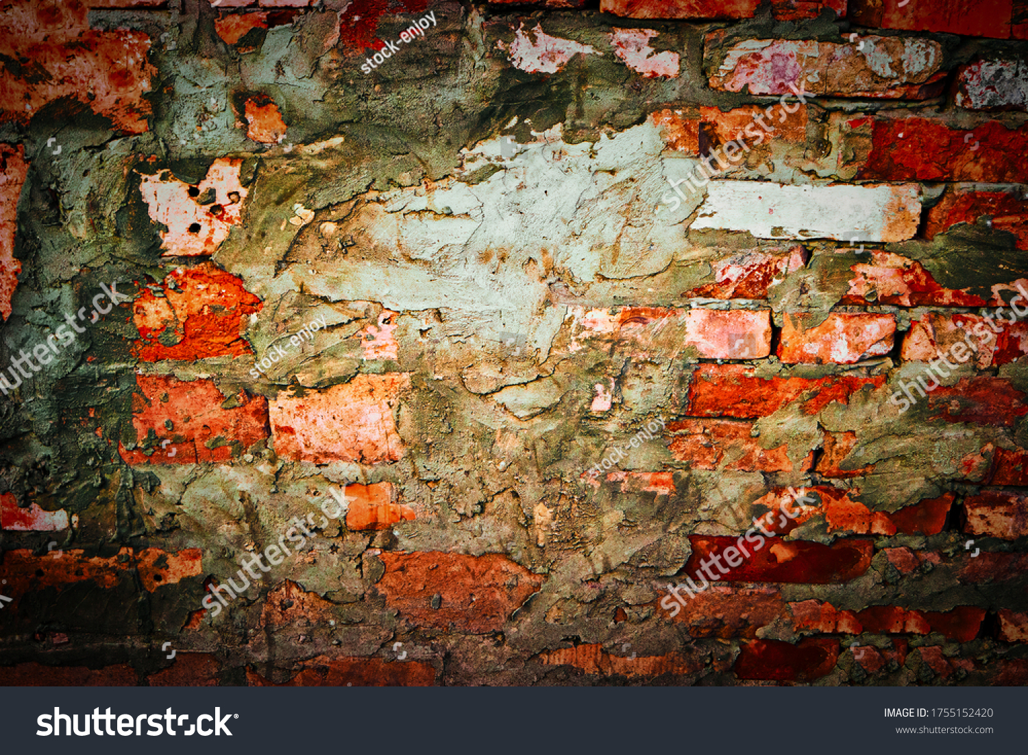 Red brick wall with messy spots of cement plaster on. Framework for design.