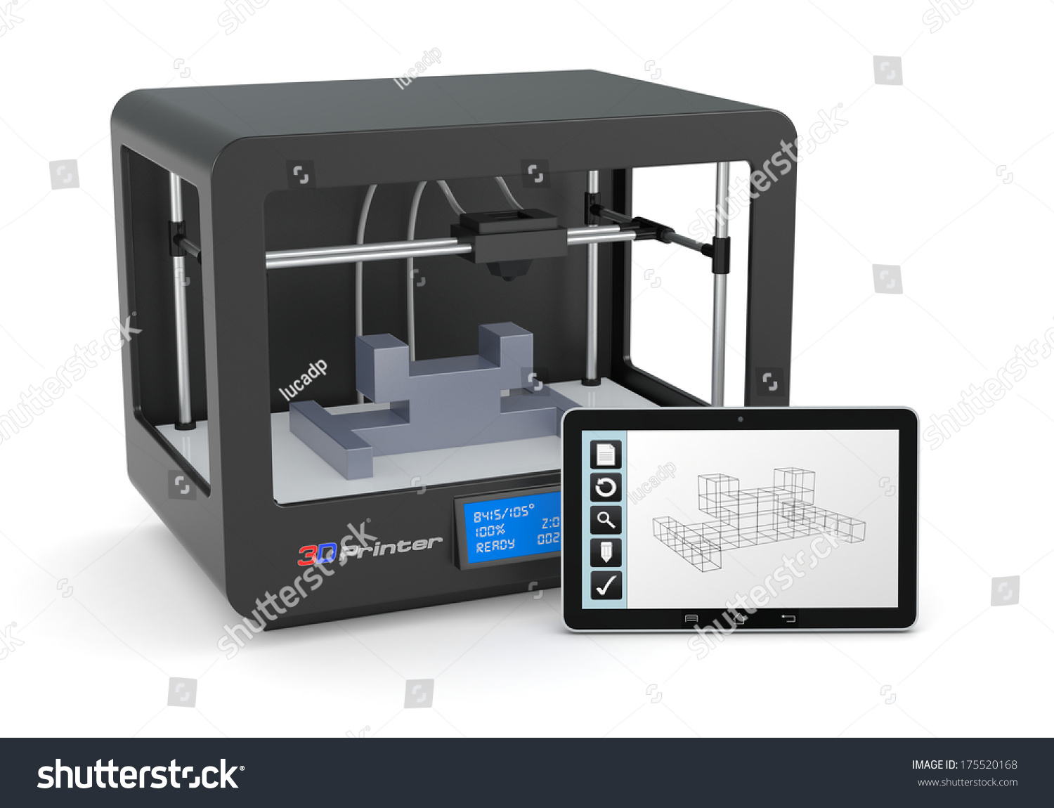 One 3d printer with a tablet pc and a cad software render Free cad software for 3d printing