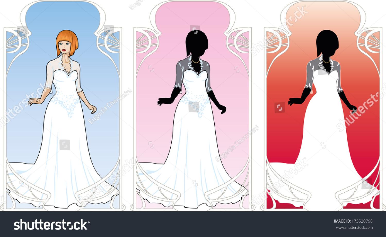 Beautiful Caucasian Woman Traditional White Wedding Stock Vector ...