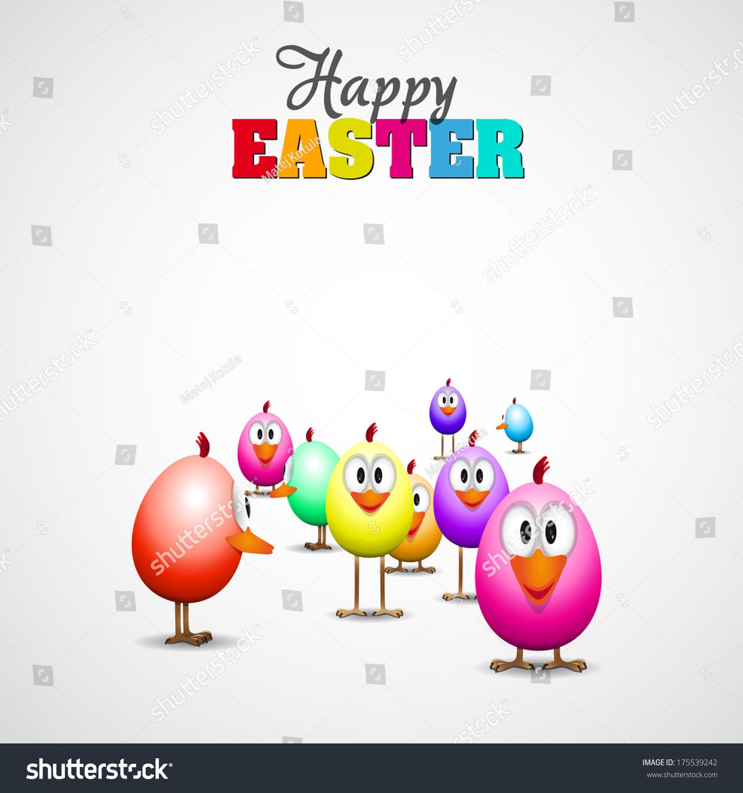 Funny Easter Eggs Chicks Background Illustration Stock