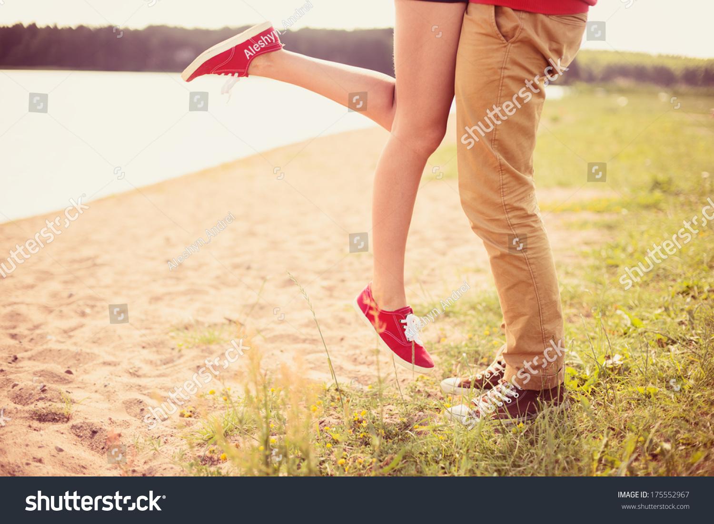 Romantic Couple Kissing On Hot Summer Stock Photo
