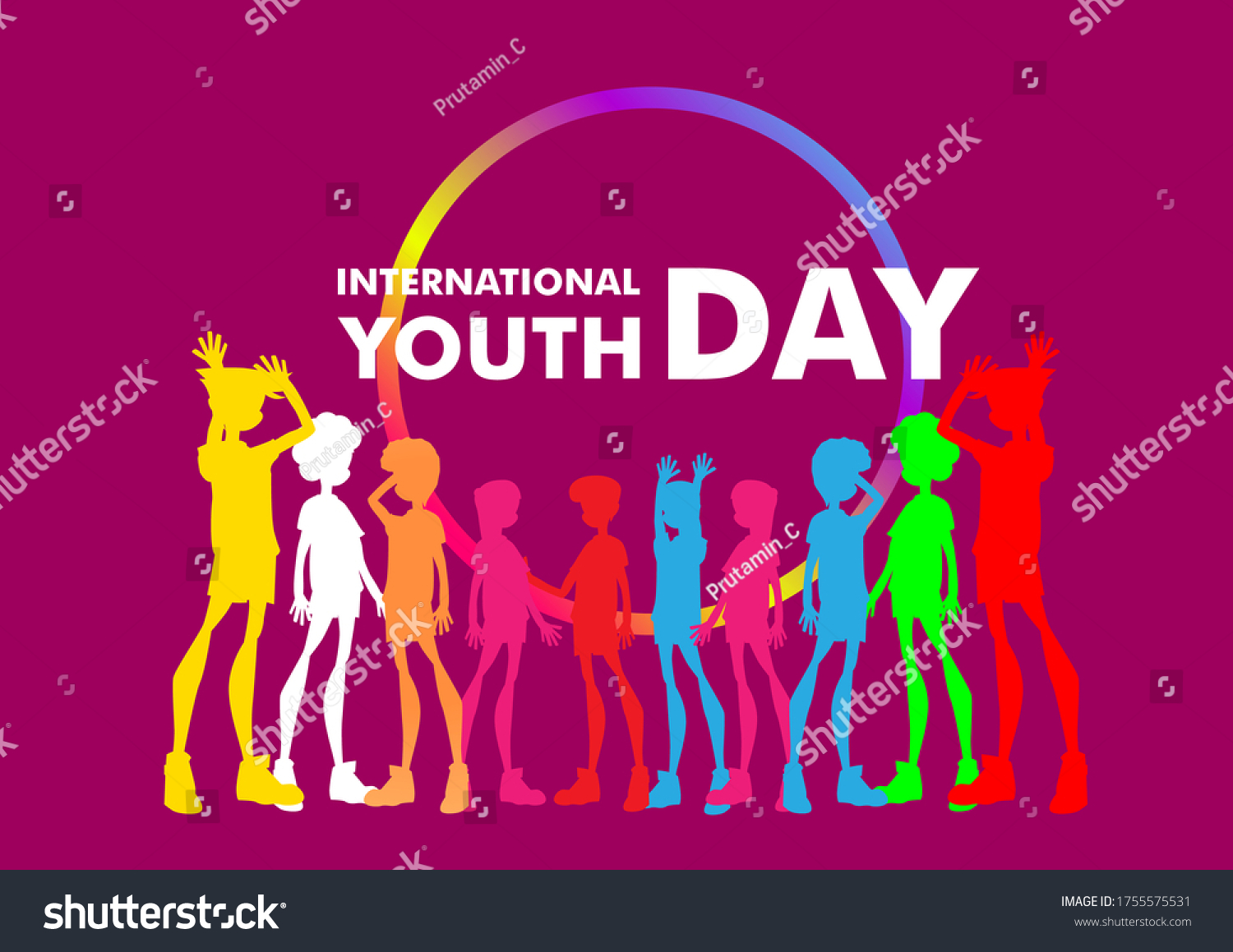 International youth day. August 12. Campaign vector illustration with colorful crowd people for friendship symbol