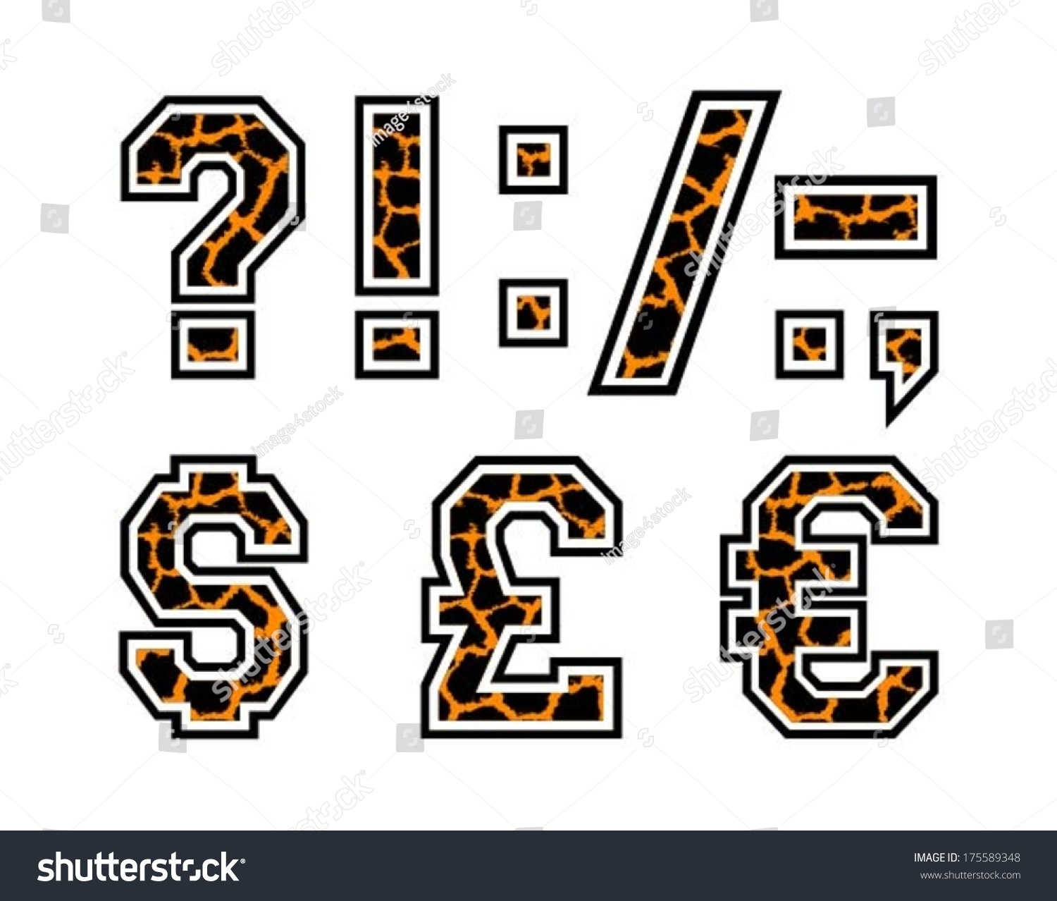 Text Question Mark Coma Dot Currency Stock Vector 175589348
