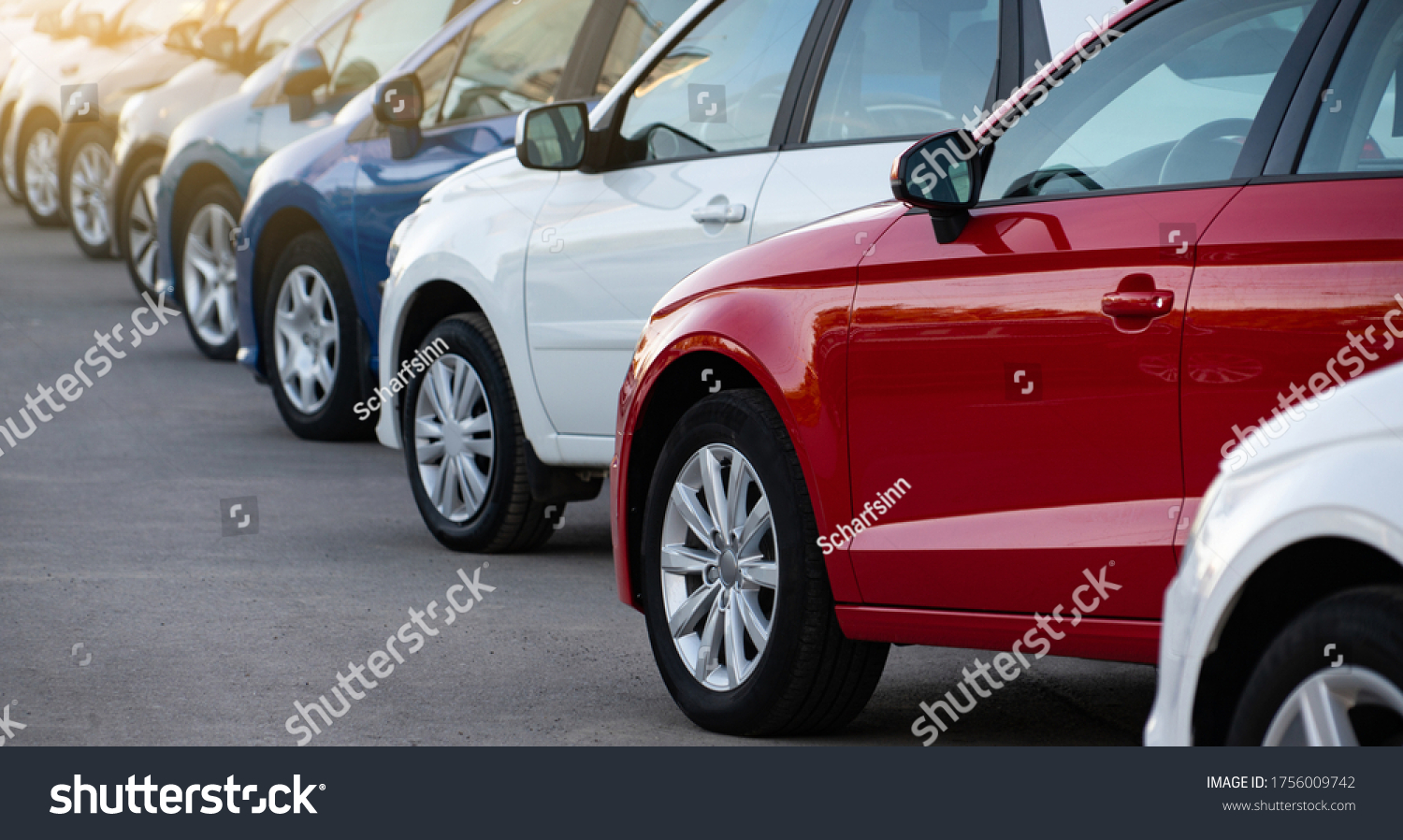 Cars in a row. Used car sales #1756009742