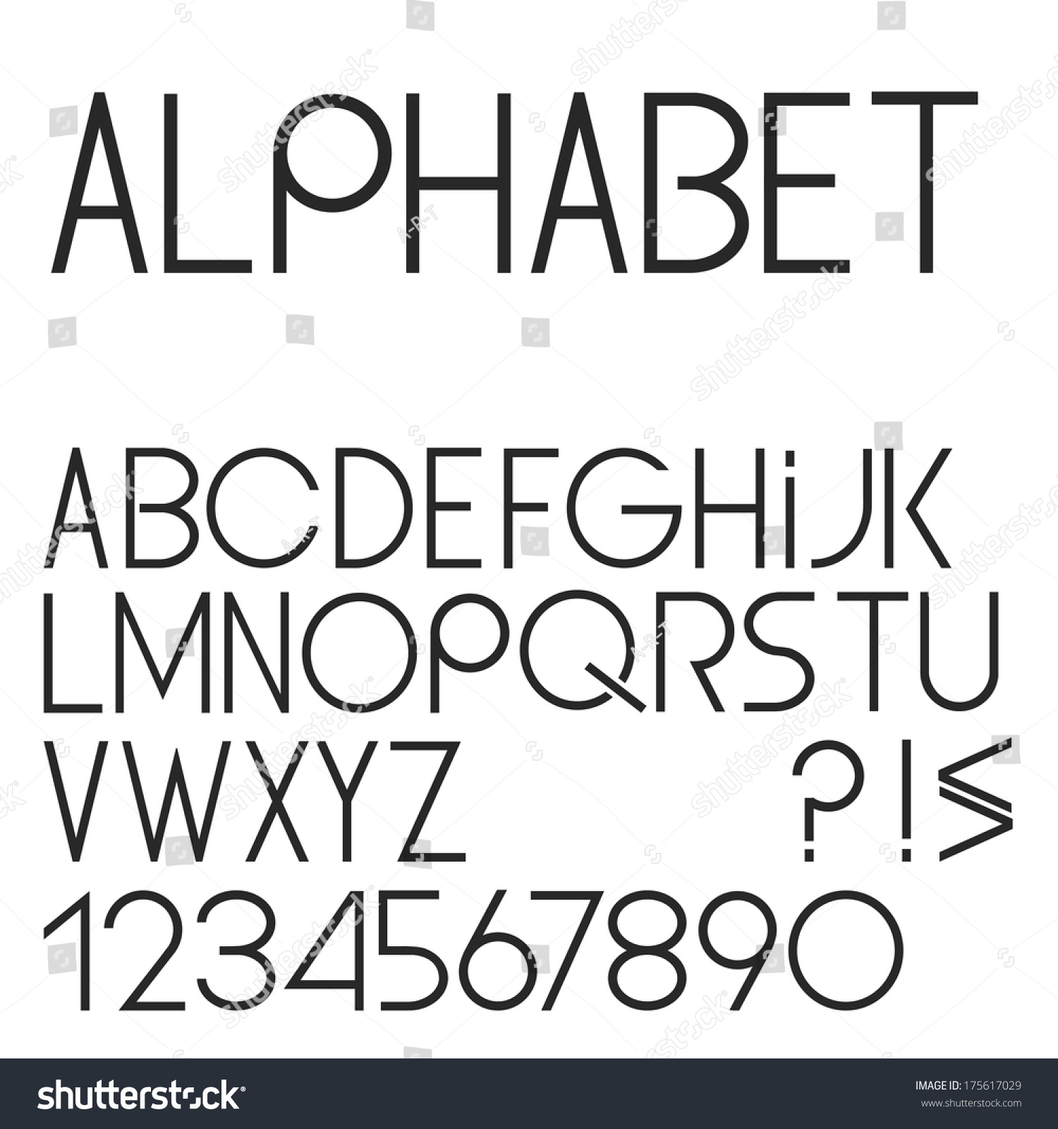 Elegant Simple Black Font, Numbers And Punctuation Marks ...