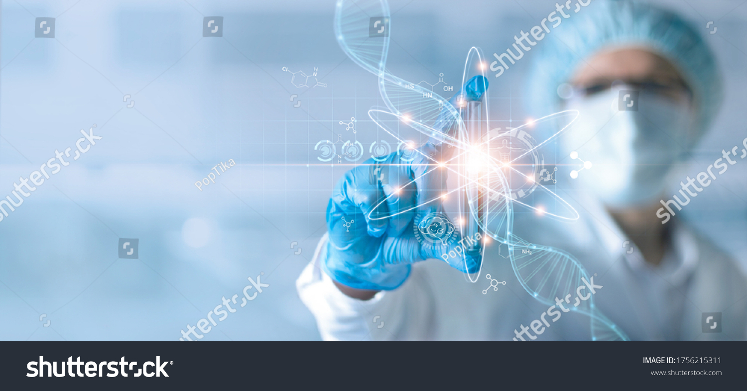 Science and medical, Scientists or Health care researcher holding test tube and analyzing data DNA gene transfer and gene therapy disease treatment and prevention in scientific chemical laboratory. #1756215311