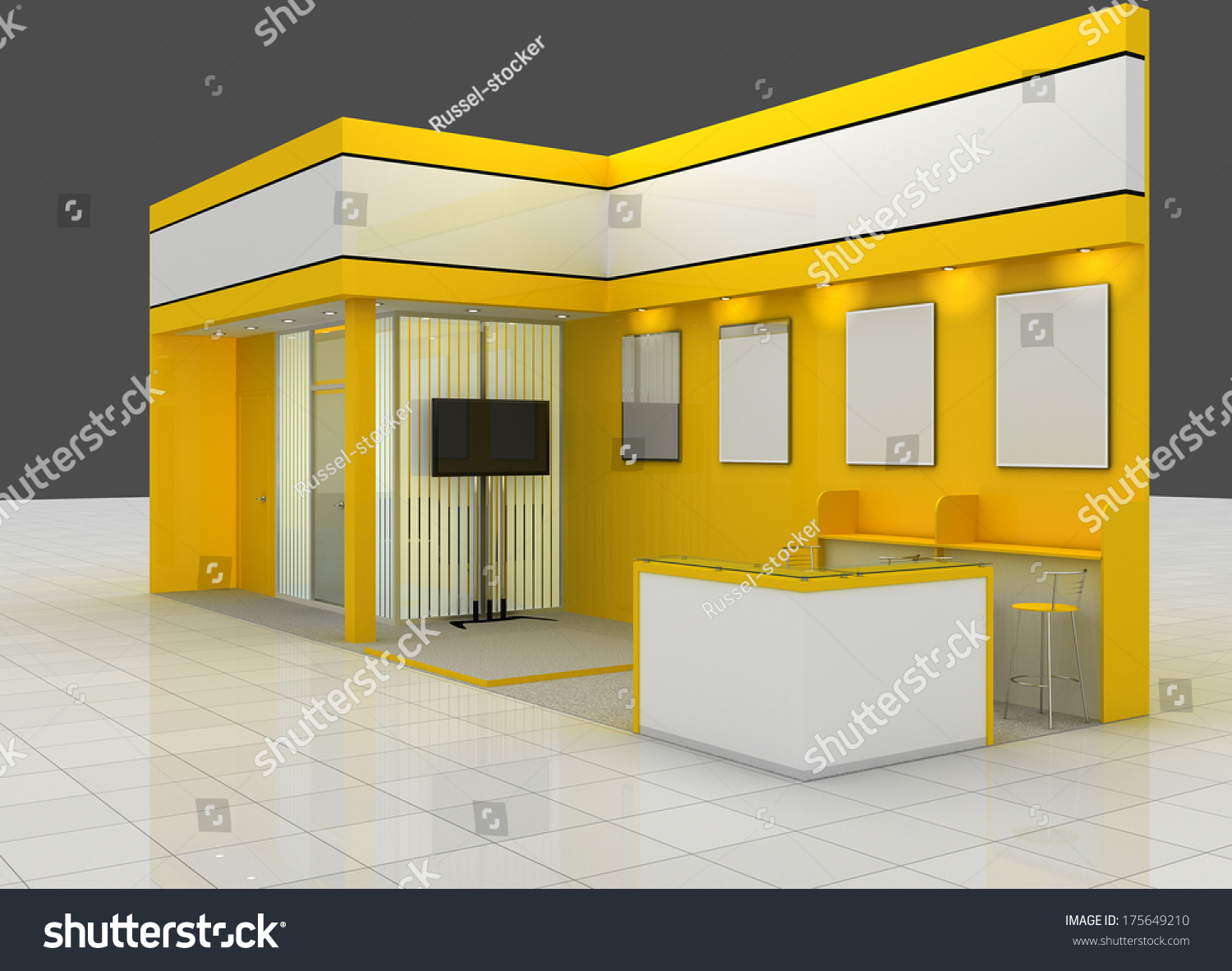 Expo Exhibition Stands Yellow : Exhibition stand render model expo yellow template design