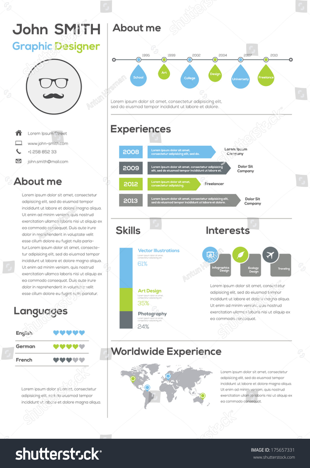 resume with infographics and timeline vector illustration
