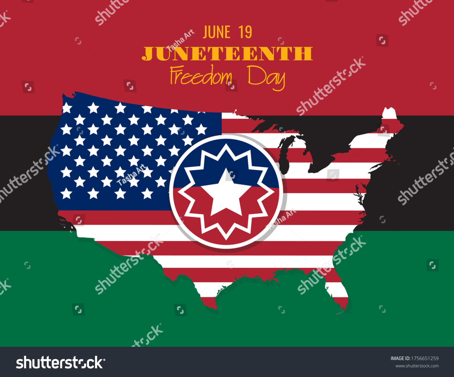 Juneteenth Round Sign United States America Stock Vector Royalty Free 1756651259