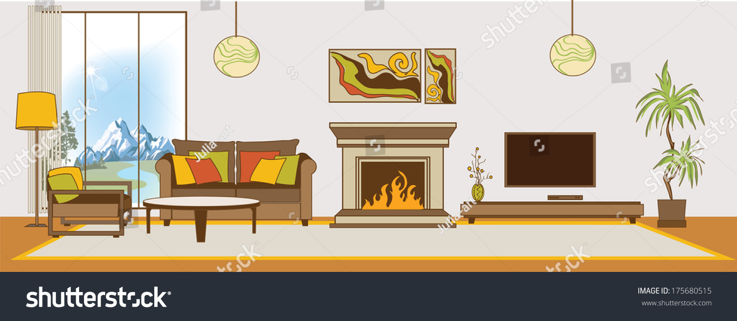 Vector livingroom interior flat design stylization stock for Room design vector