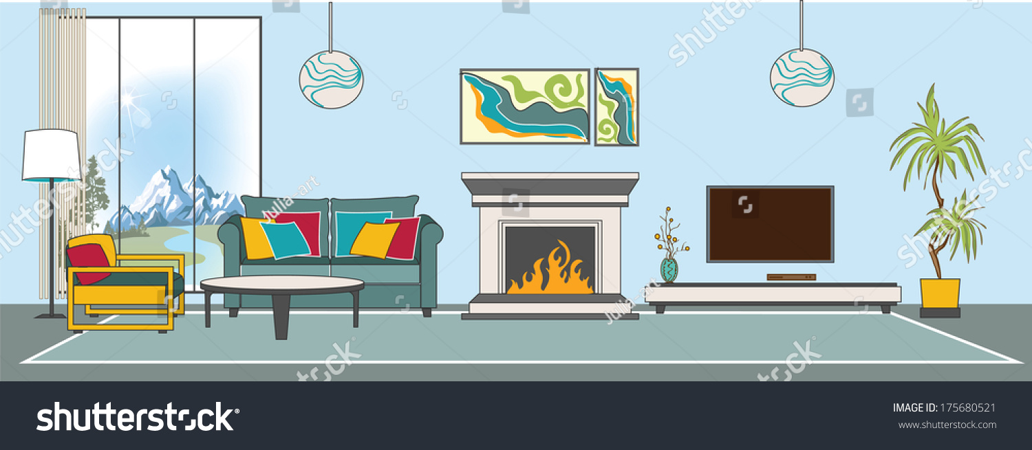 Vector Living Room Interior Flat Design Stylization Collection Of