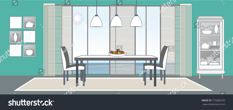 Vector Diningroom Interior Flat Design Stylization Stock Vector 175680530 Shutterstock
