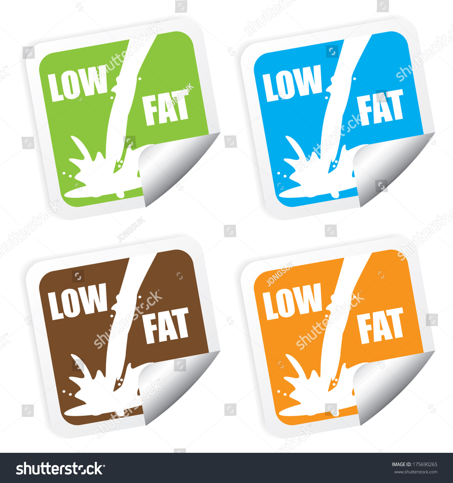 Royalty Free Stock Illustration Of Low Fat Colorful Labels Stickers