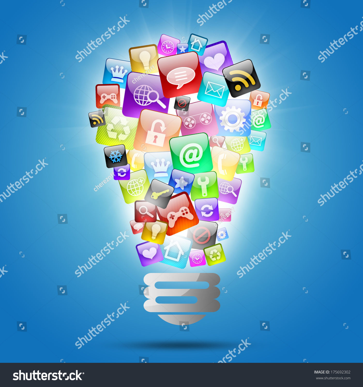Lamp Consisting Of Apps Icons. The Concept Of Software