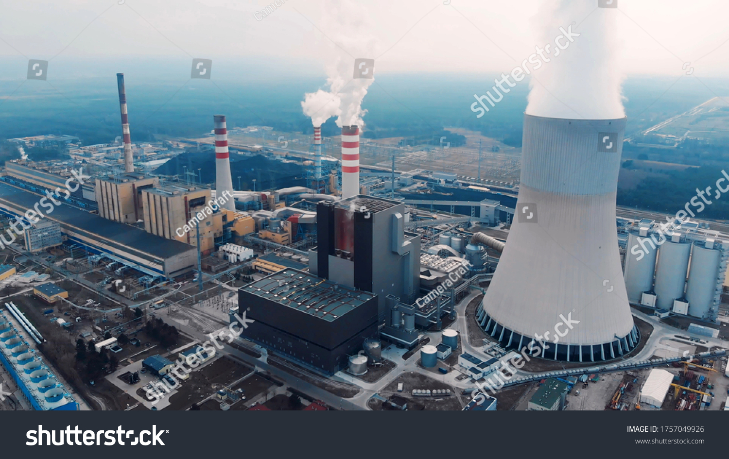 Aerial View Of Large Chimneys From The Kozienice Coal Power Plant In Poland - Swierze Gorne. #1757049926