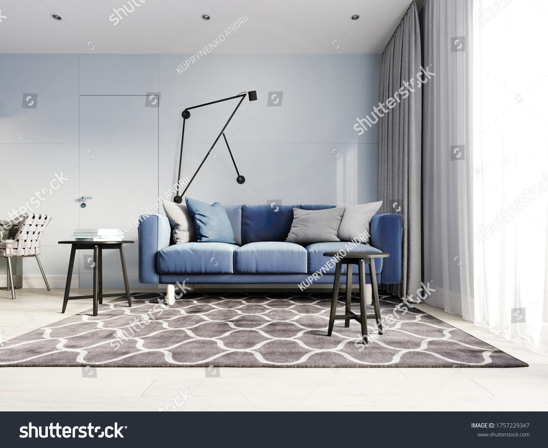 Nordic Design Living Room Modern Blue Stock Illustration 1757229347