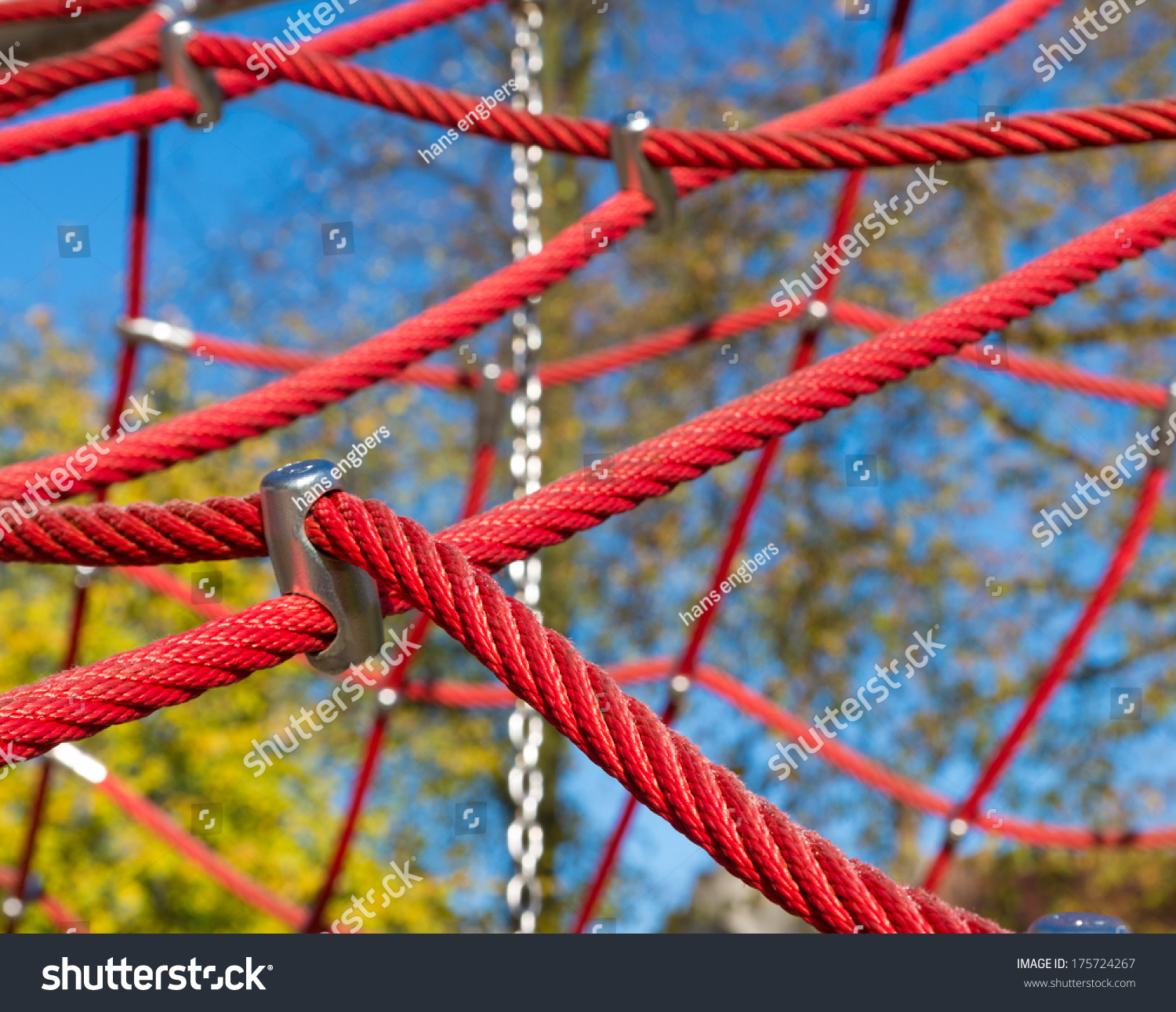 Red Ropes Part Child Climbing Frame Stock Photo (Royalty Free ...