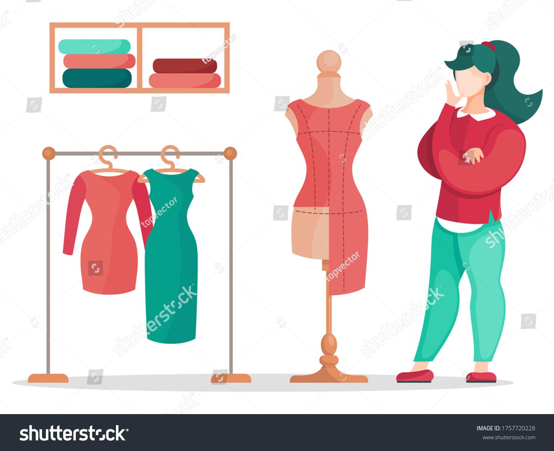 Fashion Designer Making Model Dressmaker Standing Stock Vector Royalty Free 1757720228
