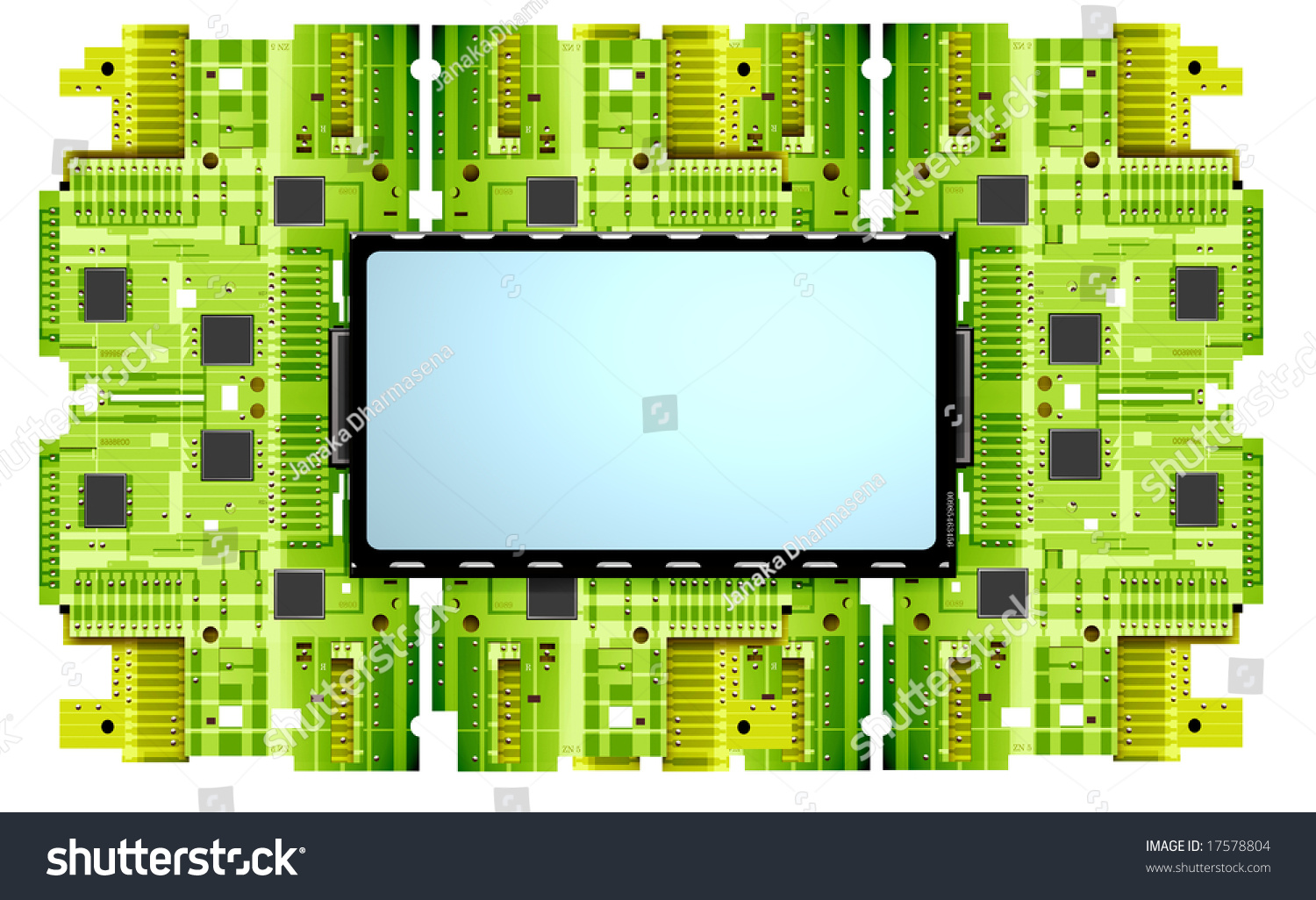 Electronic Circuit Board 2 D Digital Art Stock Illustration 17578804 Recycling On Printed Blue Industrial Board2d