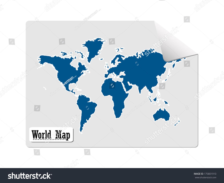 Sticker world map blue vector illustration stock vector 175801910 sticker of a world map blue vector illustration gumiabroncs Choice Image