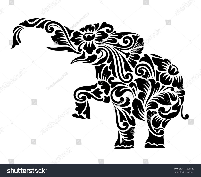 Nice Elephant Floral Ornament Decoration Vector Stock Vector ...