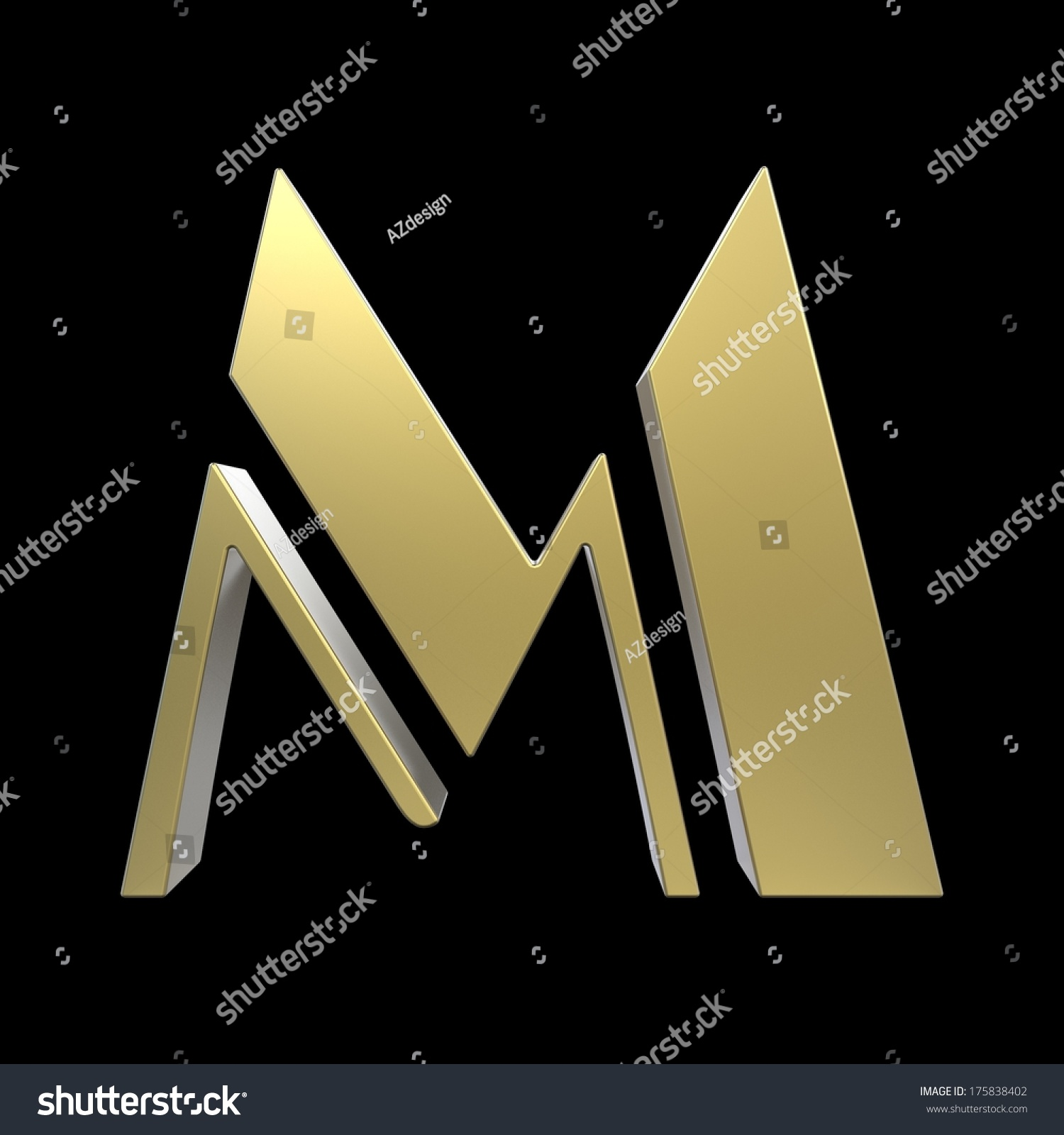 golden art deco alphabet letter m isolated on black background