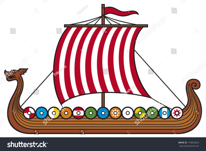 Viking Long Ship Stock Vector 175853693 - Shutterstock