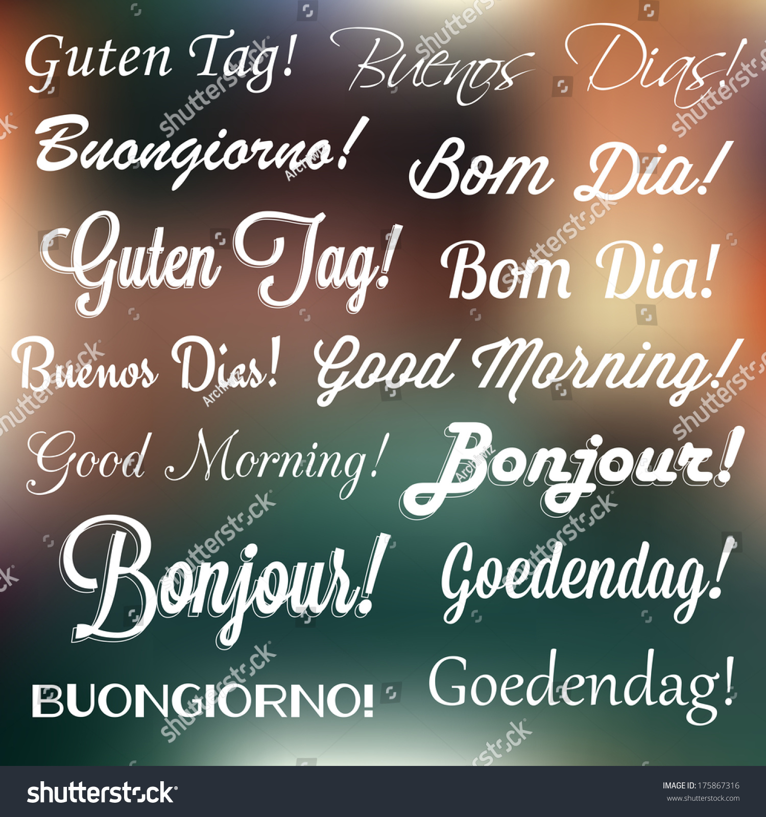 Good Morning In Many Languages : Retro typography good morning many languages stock vector