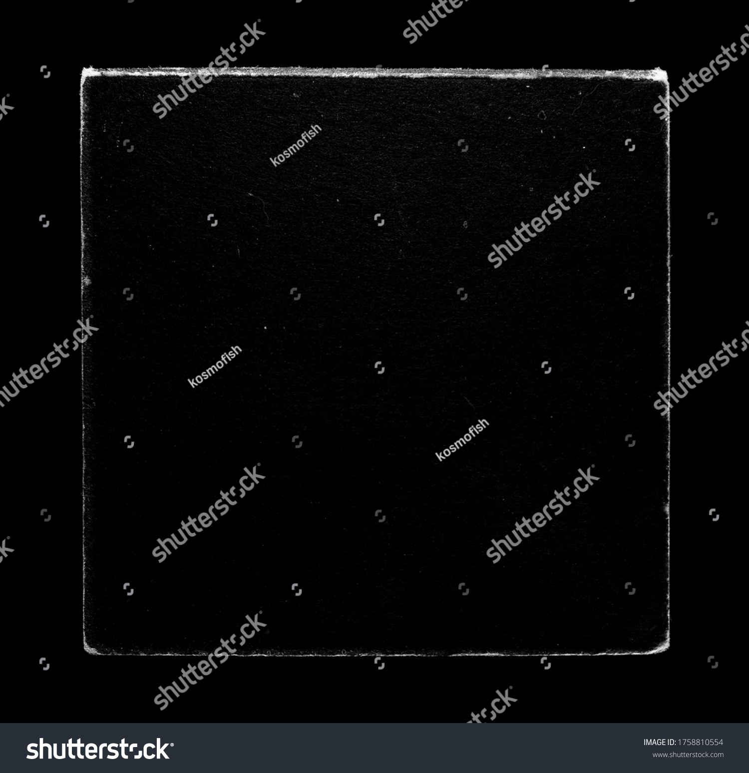 Old Vinyl CD Record Cover Package Envelope Template Mock Up. Black Scratched Shabby Paper Cardboard Square Texture.  #1758810554