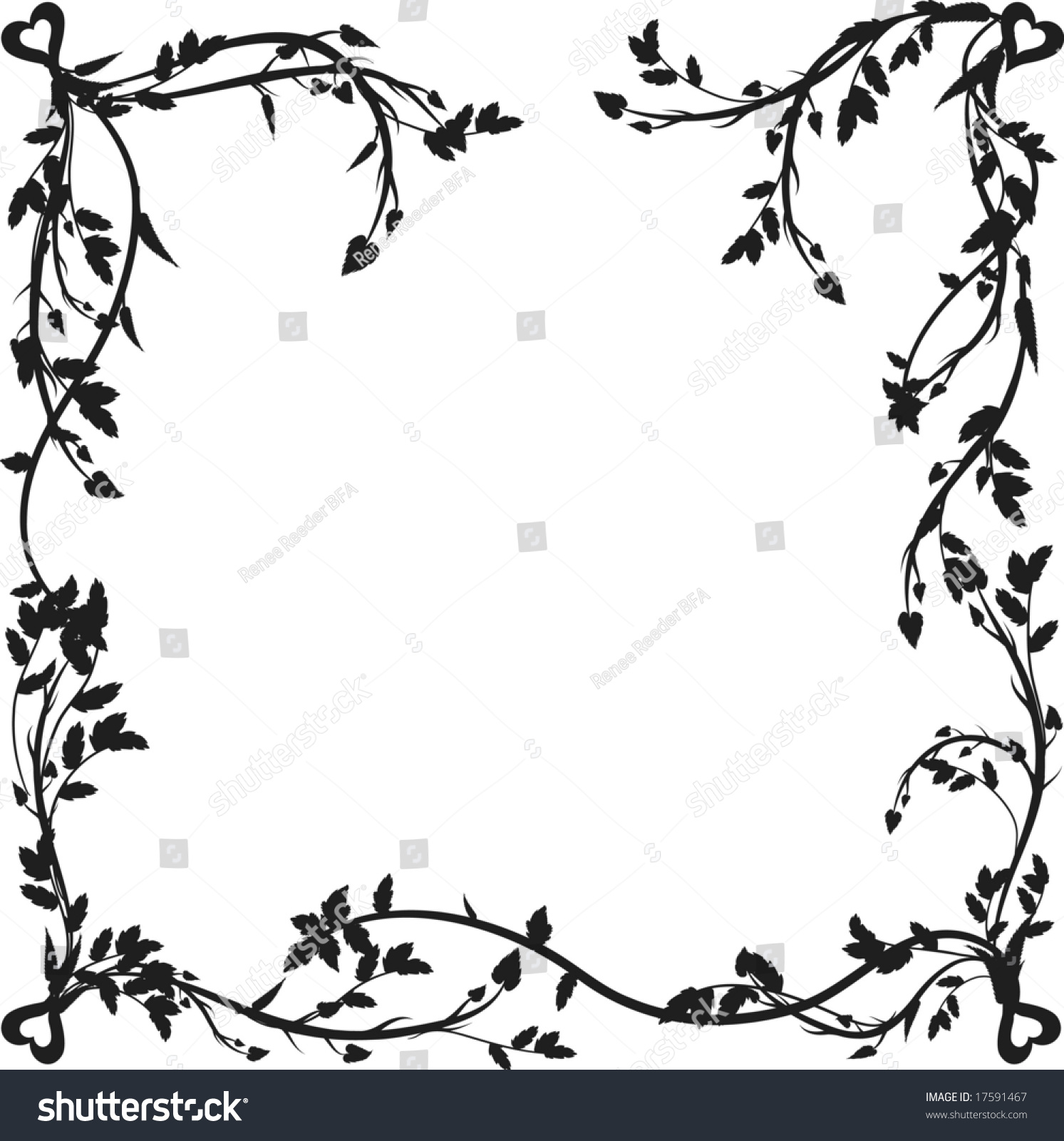 Organic Frame Leaves Hearts One Color Stock Vector (Royalty Free ...
