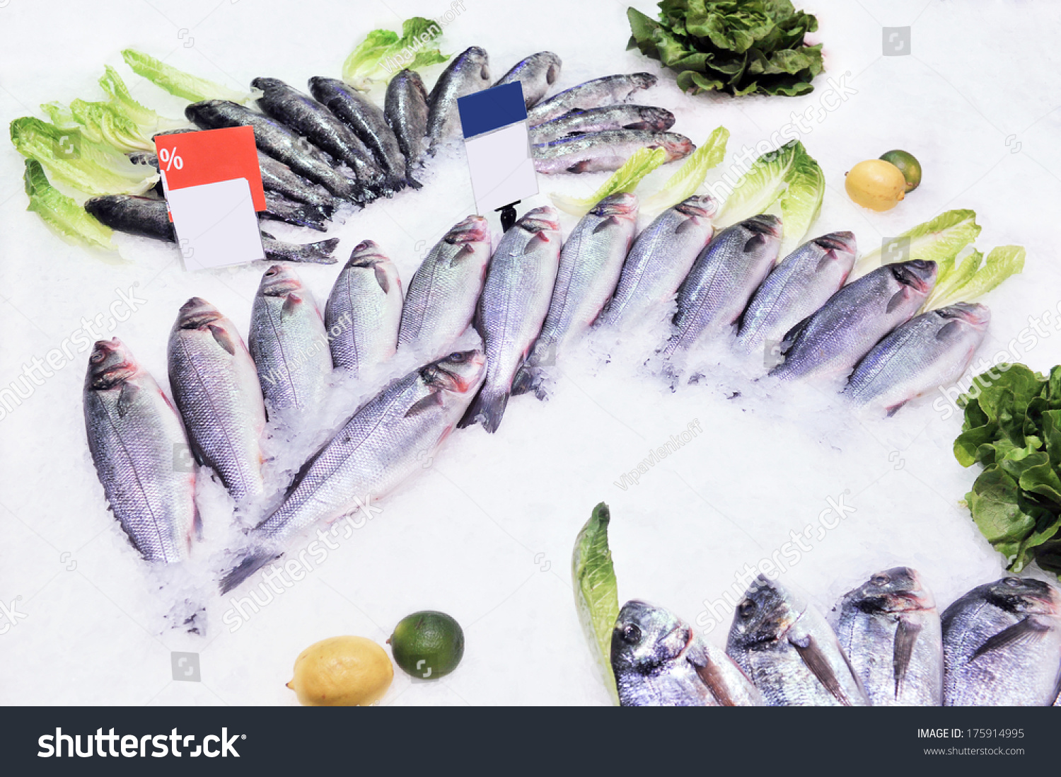Fresh live fish on ice on open market stock photo for Fresh fish online