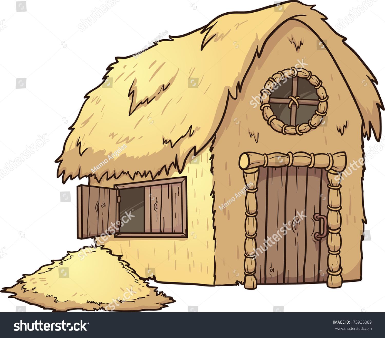Cartoon straw house vector clip art stock vector 175935089 for Illustration minimaliste