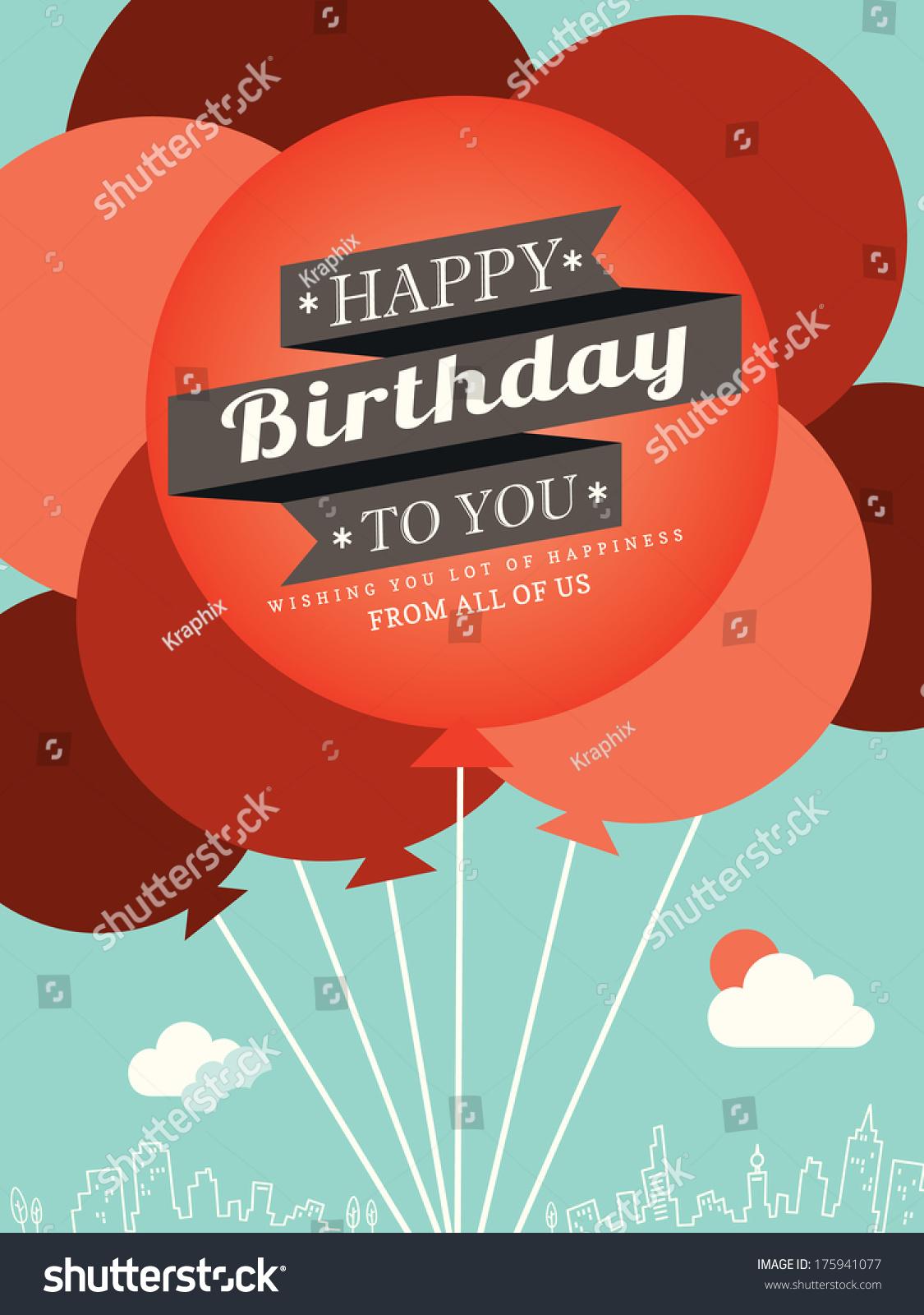 Happy Birthday Card Design Template Balloon Stock Vector Royalty Free 175941077