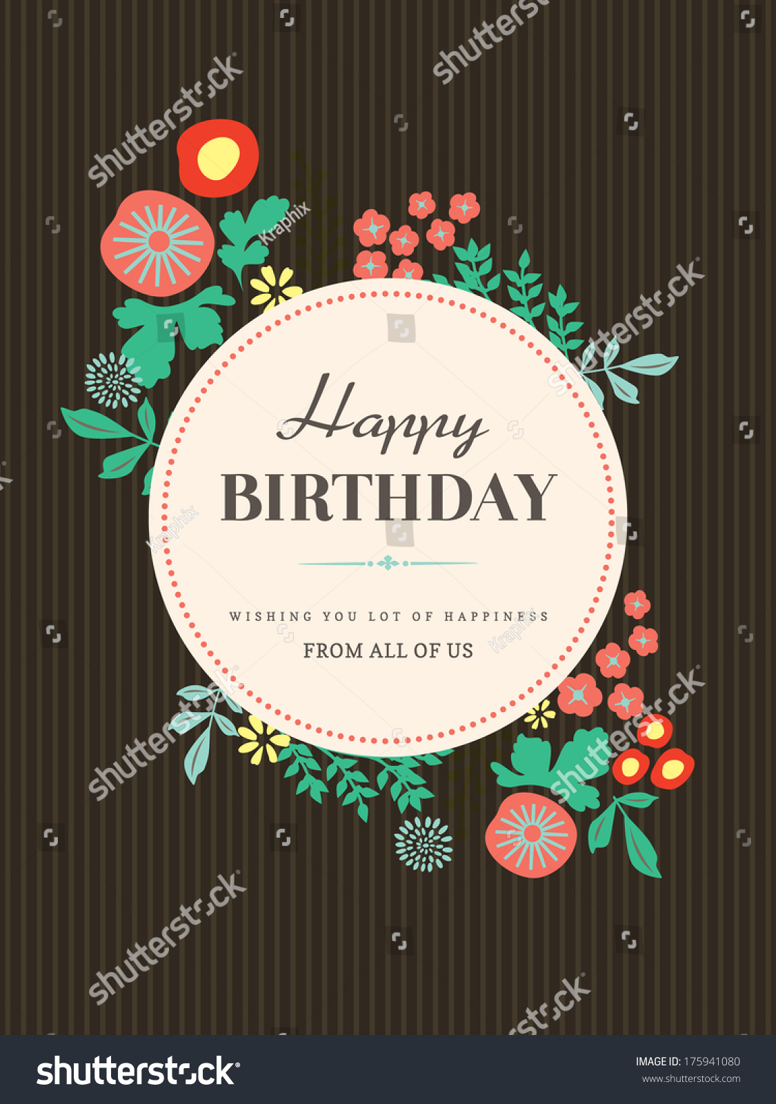 Happy Birthday Card Design Template Floral Vector 175941080 – Template Happy Birthday Card