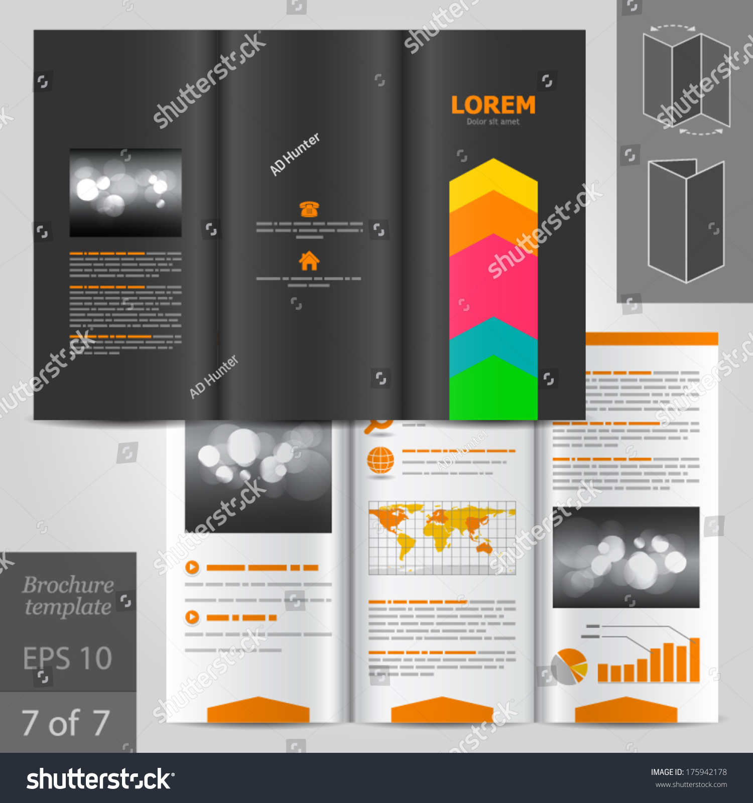 Creative Black Brochure Template Design With Color Art Elements