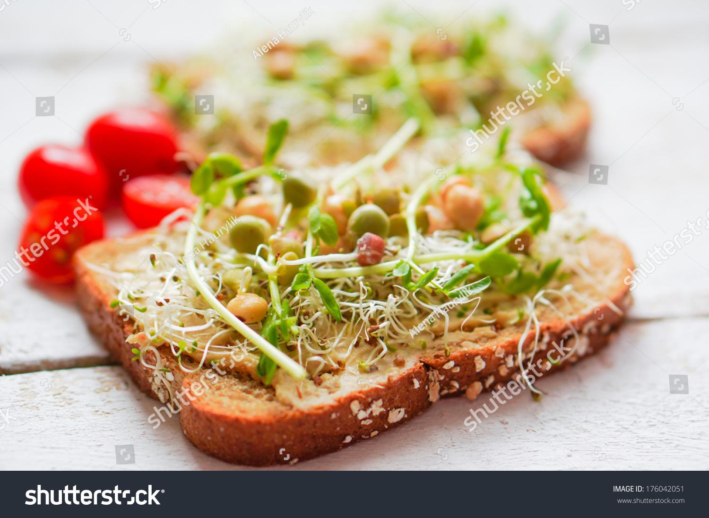 Healthy Vegetarian Sandwich With Whole Grain Bread,Alfalfa,Hummus ...