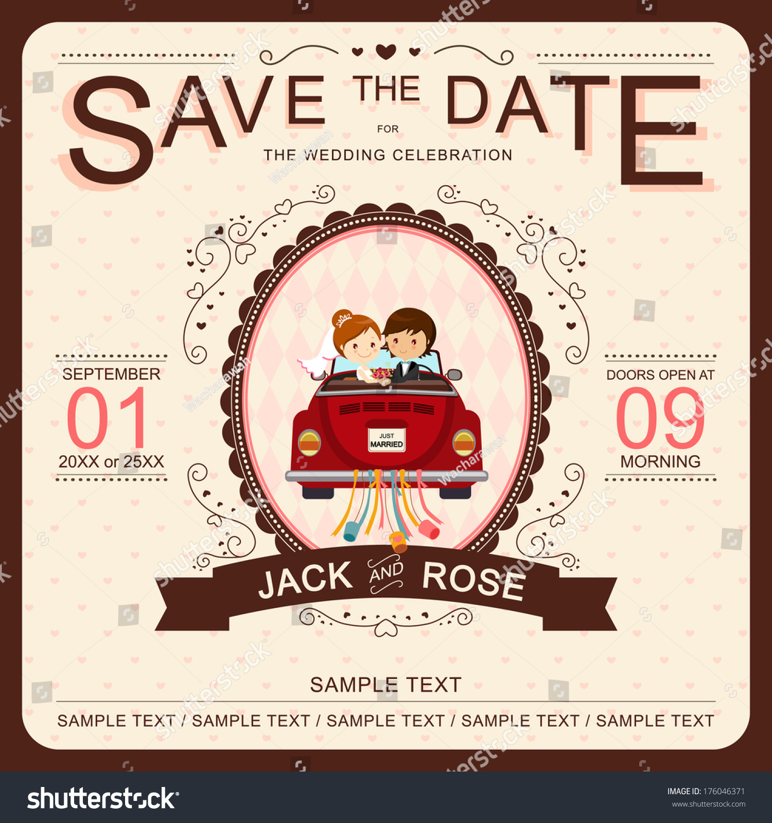 Wedding Invitation Message From Bride And Groom: Cute Bride And Groom In Red Car Wedding Invitation