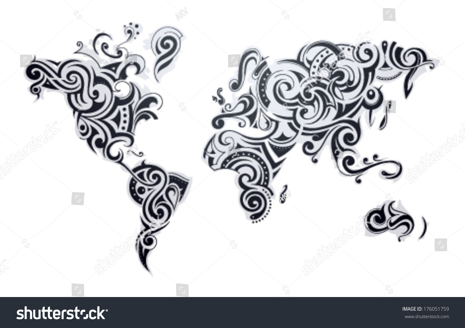 World map tattoo our earth one vectores en stock 176051759 world map tattoo our earth as one tribe concept illustration gumiabroncs Choice Image
