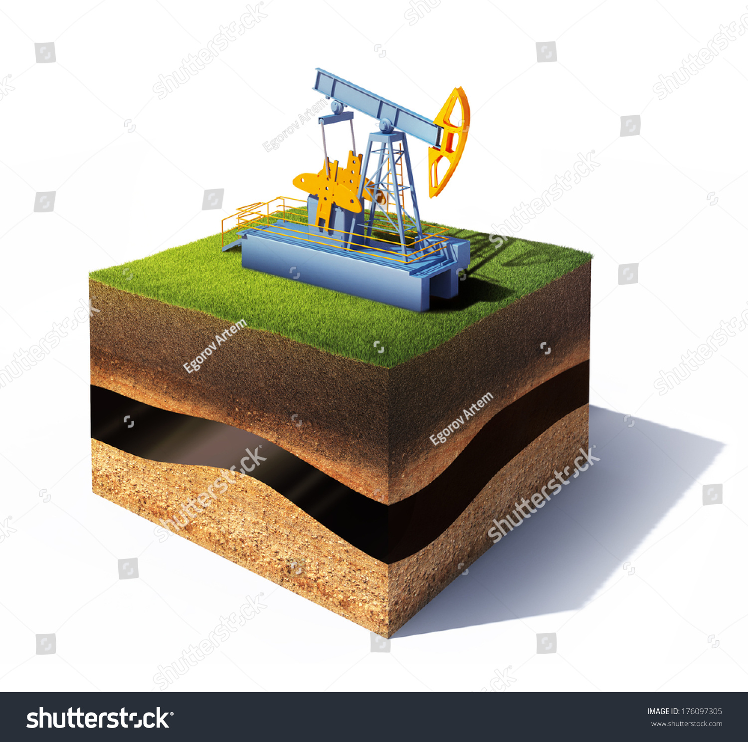 3d model of cross section of ground with grass and oil for Soil 3d model