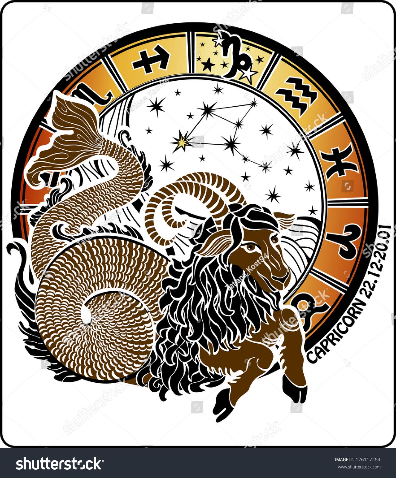 Big Capricorn Symbols All Zodiac Signs Stock Vector Royalty Free