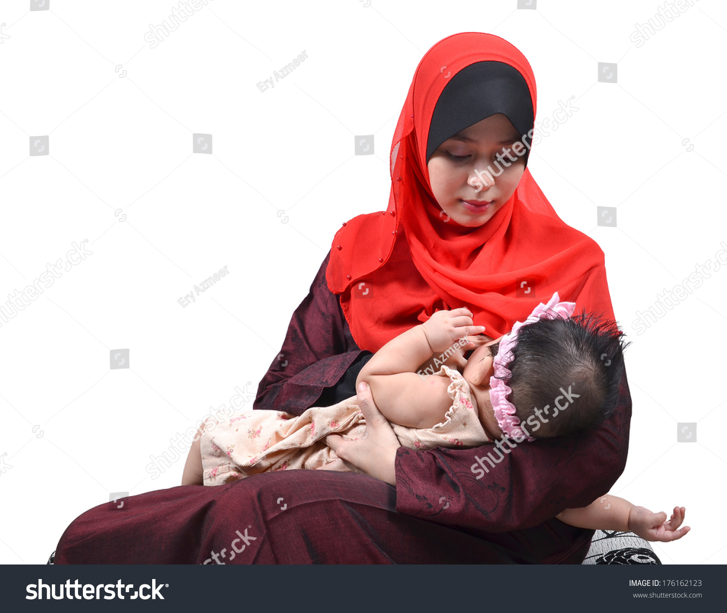 Young Asian Muslim Mother Breastfeeding Her Stock Photo