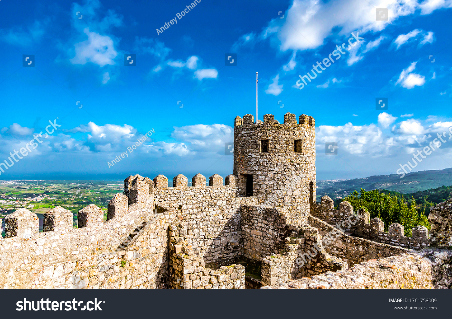 Ancient fortress ruins view. Medieval fortress ruins #1761758009