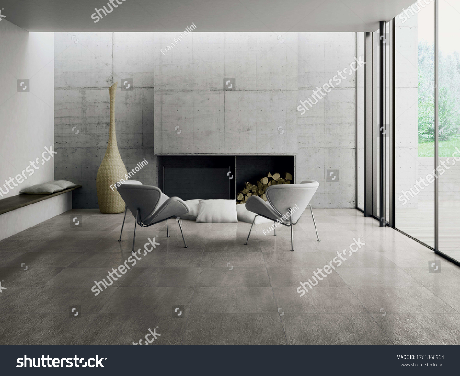 Modern living room with grey  tiles, seamless design, luxurious interior background. #1761868964