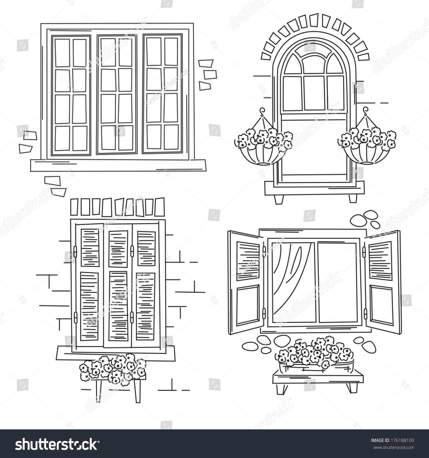 Set O Retro Windows Isolated On Stock Vector 176188109