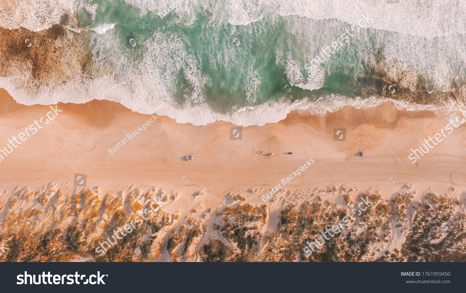 Drone view of Yeagarup Beach and the Warren River, Western Australia, wild southern ocean, river entrance, Australian coastline, rugged coast and crashing waves  #1761959450