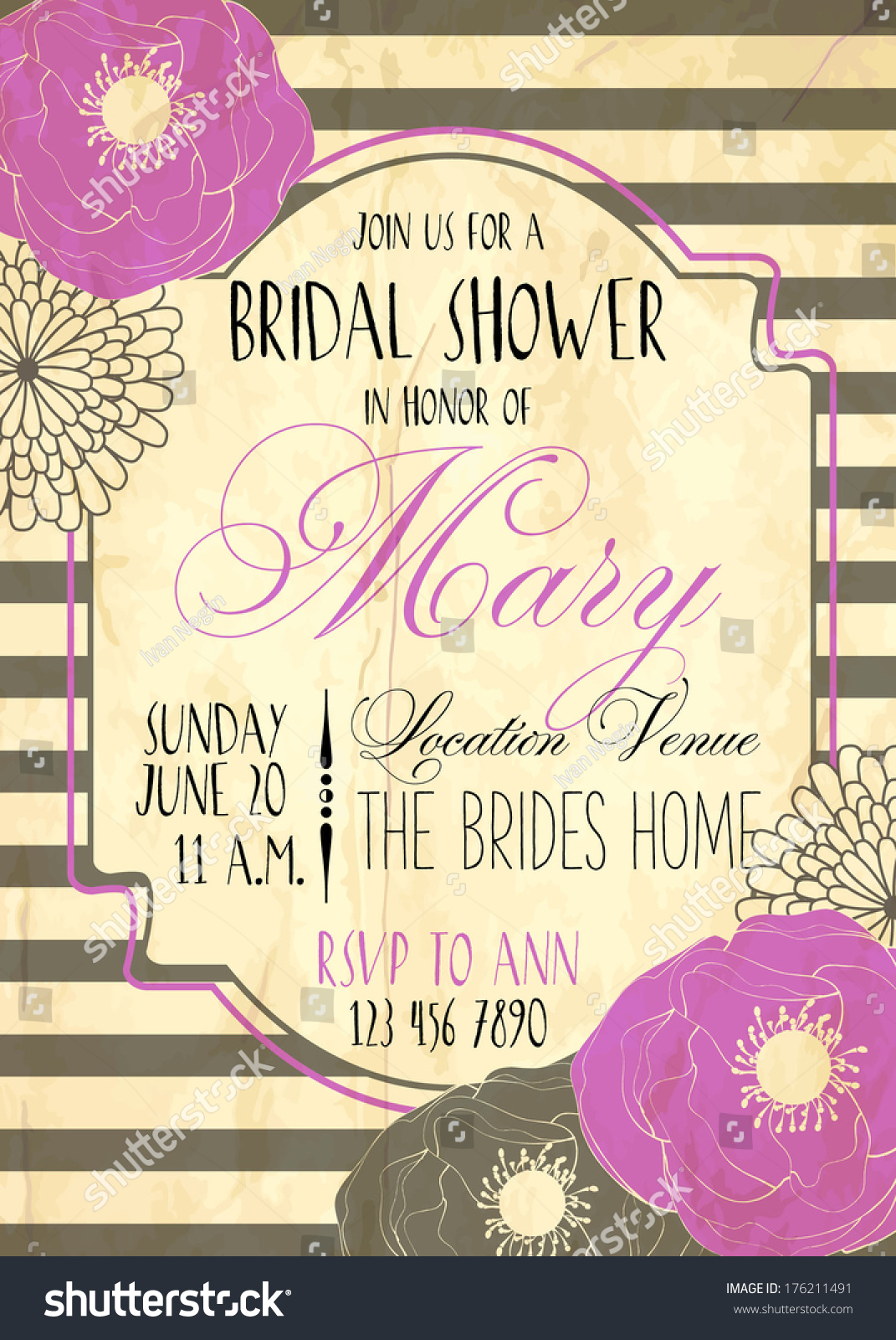Bridal shower card stock vector 176211491 shutterstock bridal shower card kristyandbryce Image collections