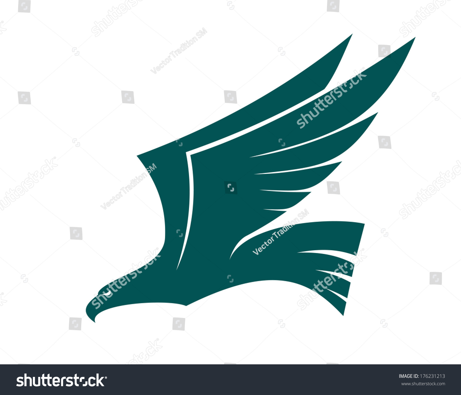 Majestic Flying Falcon Bird Logo With Raised Wings In ...