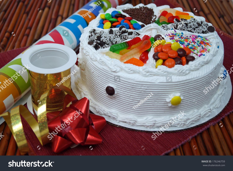 Birthday Cake Ribbons Bows Traditional Birthday Stock Photo Safe To