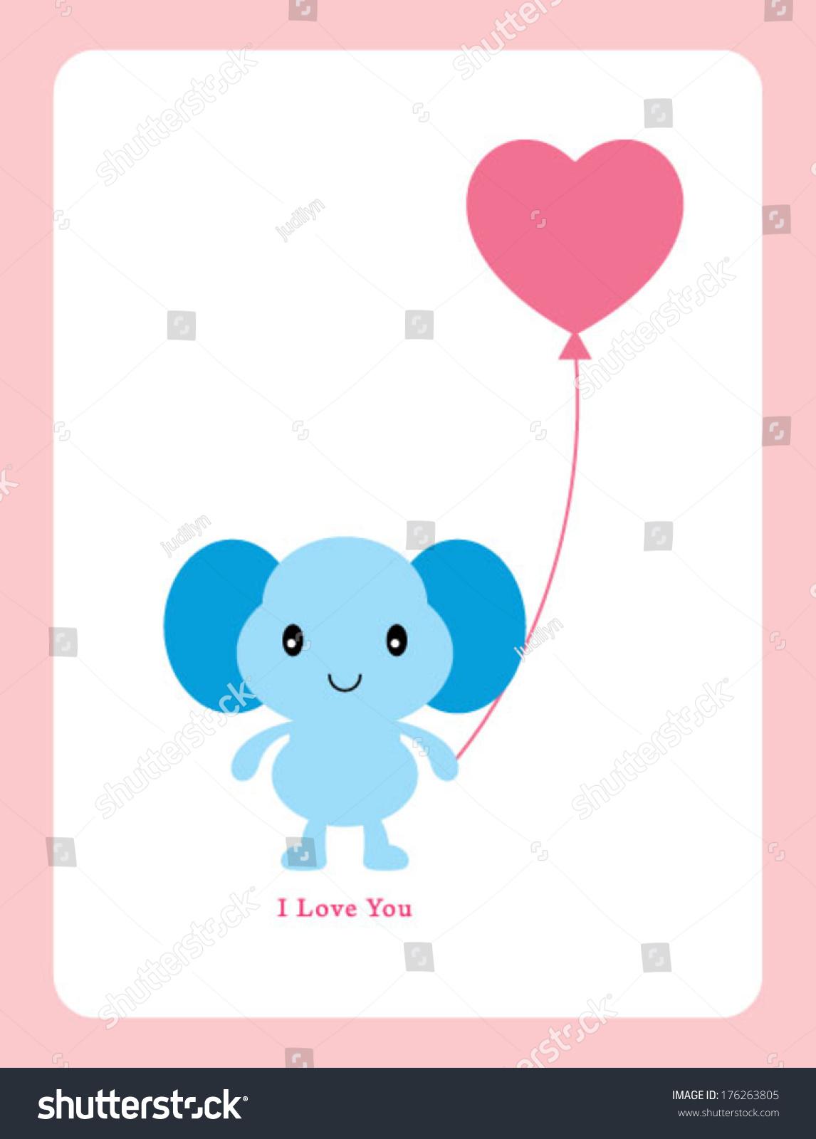 Elephant Valentine Greeting Card Vector 176263805 Shutterstock – Elephant Valentines Card