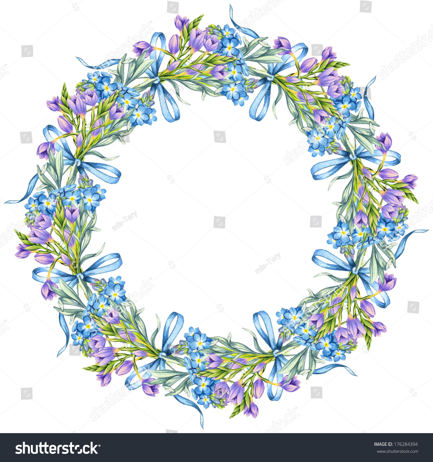 template with a wreath of spring flowers flower frame isolated on